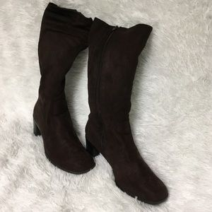Brown Suede High Tall Zipper Boots with Heel